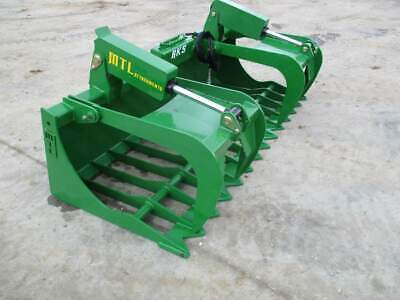 "MTL RK5 60"" John Deere Loader Rock-Root Grapple Bucket Twin Cylinder -FREE ship"