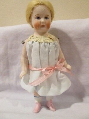 """6"""" Antique German All Bisque Doll With Pink Boots"""