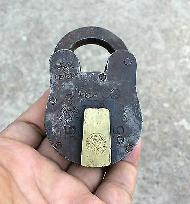 Vintage Rare Tata Steel Real 6 Levers Iron Padlock With Brass Fittings