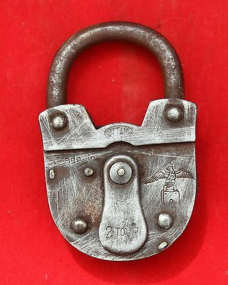 Antique Uttam 2 Tour Rare Iron Pad Lock With Eagle Trademark,Germany
