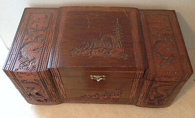 Vintage Jewelry Box Dragons Temples Solid Wood Thailand Mirror Drawers Souvenir