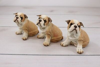 Lot 3 Vintage Sandcast Bulldog Dog Puppy Figurine Brindle Tan Brown White