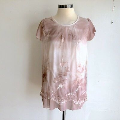 a5788749071ee Simply Couture Zulily W Size S Floral Lace Tunic Top Pink Short Sleeve NWT