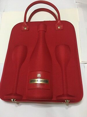 NEW Piper-Heidsieck Champagne Bottle and Glass Travel Carrier With 2 Glasses Red