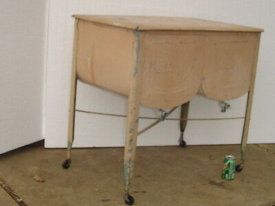 *LPU*** Vintage IDEAL DOUBLE WASH TUB galvanized metal on stand laundry clothes