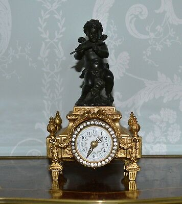 Antique Miniature Ornate Gilt Ormolu Cherub Mantle Clock Working