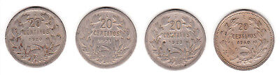 1920 1921 1923 & 1940 Chile 20 Centavos. 4 coin lot.