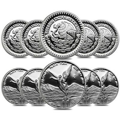 Lot of 10 - 2016 1/20 oz Mexican Silver Libertad Coin .999 Fine Proof (In Cap)