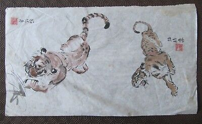 Original Antique Chinese drawings / paintings of Tigers on rice paper, signed