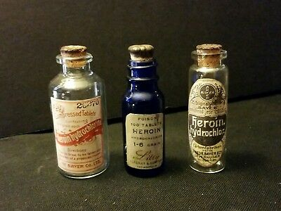 3 Vintage Style  Heroin 1 Lily  & 2 Bayer Glass Bottles Handcrafted by Artist