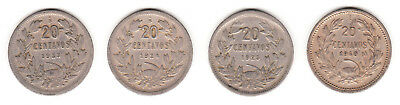 1923 1924 1925 & 1940 Chile 20 Centavos. 4 coin lot.