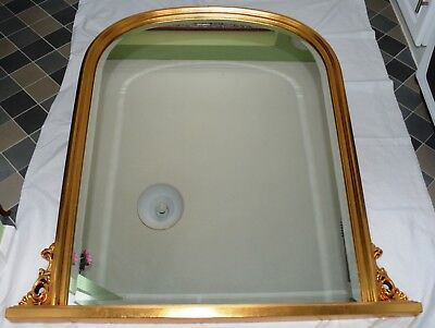 Vintage Reproduction Victorian Style Large Arched Beveled Glass Mantle Mirror