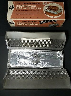 """VTG Sears Vertical Contour Combo Charcoal Fire & Drip Pan for 24"""" BBQ Rotissere"""