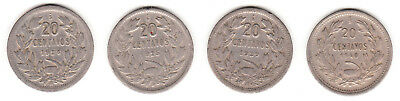 1924 1925 1929 & 1940 Chile 20 Centavos. 4 coin lot.