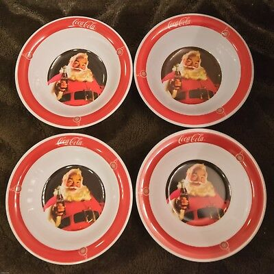 4 Coca Cola Santa Claus Melamine Bowls Gibson 2009 Christmas Collectible EUC