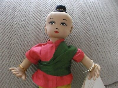 """Vintage hand-made Silk Kumarn  Doll """"King and I""""  from Thailand"""