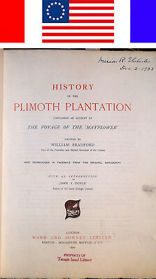 1896 1ST-ED BRADFORD'S HISTORY OF THE PLIMOTH PLANTATION Plymouth New England