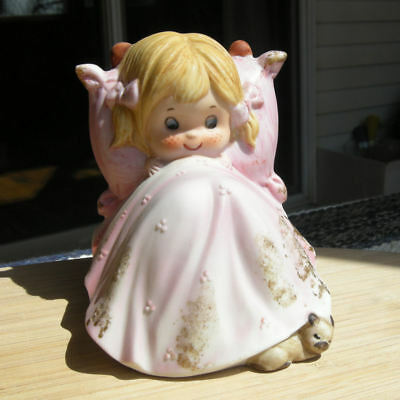 Vintage Lefton Painted Ceramic Child Night Light Girl in Bed with Sleeping Puppy