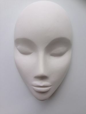 Blank face hand cast plaster mask undecorated Masquerade Venetian