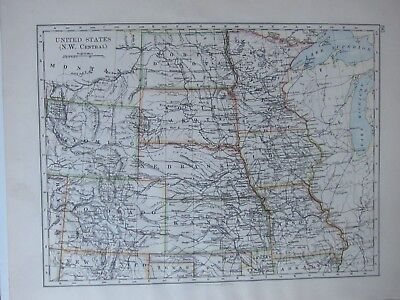 1894 Victorian Map ~ United States North West Central Colorado Kansas Nebraska