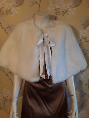 WHITE Faux Fur Cape Cover Up Wedding Evening Occasion Brand New