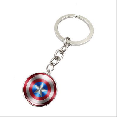 Avengers Captain America Shield Time Gemstone Keychain Jewelry Alloy Gift