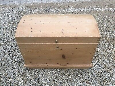 Large Solid Antique Pine Dome Top Blanket Chest