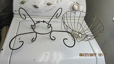 1 Antique wire Hanging Basket 1 Wire Pot Stand