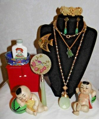 asian inspired chinese collectibles jewelry figurine snuff set assortment lot