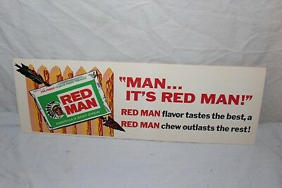 """Vintage 1950's Red Man Chewing Tobacco Gas Station 14"""" Sign W/Indian~Nice"""