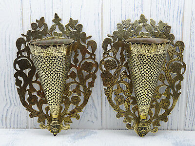 Victorian brass spill vases, pair of wall mounted Medieval style spill holders