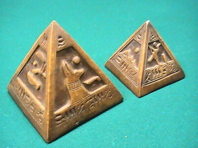 """2 Egypt Hand Carved Stone Pyramid Hieroglyphs ~ 3"""" and 4"""" Paper Weight Rare"""