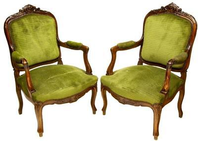 4 FRENCH LOUIS XV STYLE FAUTEUIL ARMCHAIRS and SIDECHAIRS vintage/antique