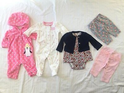 Just One You by Carter's 6 pc Lot of 3M Baby Girls' Clothes - Pants, Sleeper