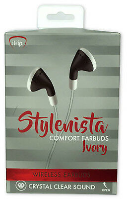 """iHip White Stylenista Wireless Bluetooth 24"""" Earbuds Lot of 10 Ship Free"""