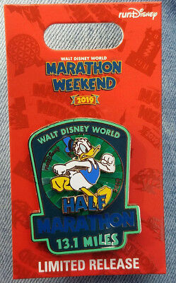Pin Run WDW Walt Disney World 1/2 Half Marathon Donald Duck LR 2019 Logo 13.1