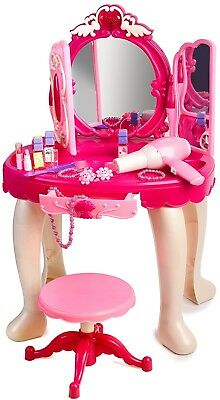 Pink Princess Make Up Vanity Table For Little Girls with Sound and Light Xmas