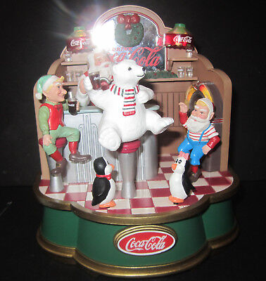 1994 Coca Cola Musical Collection- Santa's Soda Fountain Moving Animals, Lights