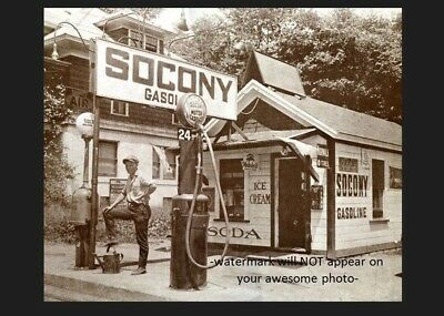 Vintage Socony Gas Station PHOTO Gravity Pumps Service Station Gasoline 1930s