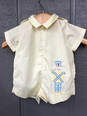 VINTAGE Boys Baby Romper Shortall Embroidered Tin Soldier 0-6 M