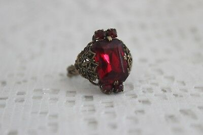 Fabulous Vintage Czech Art Deco Large Red Glass / Gold Filigree Cuff Ring