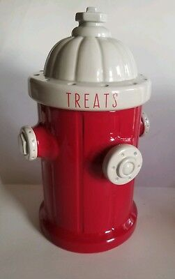 Blue Sky Clayworks Red Fire Hydrant Dog Treats Canister 2017 Cookie Jar Pet New
