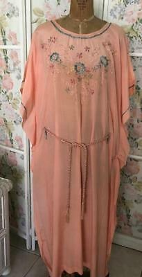 ANTIQUE VINTAGE CHINESE ORIENTAL SILK PINK EMBROIDERED NIGHTGOWN ROBE1920-30's