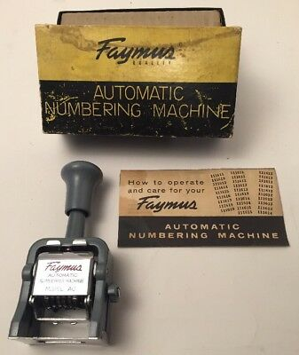 VINTAGE FAYMUS AUTOMATIC NUMBERING MACHINE MODEL AC METAL NUMERALS JAPAN W/ Box