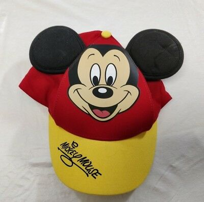 Disney Parks Mickey Mouse Baseball w/ Ears Red & Yellow Hat Cap Size Youth