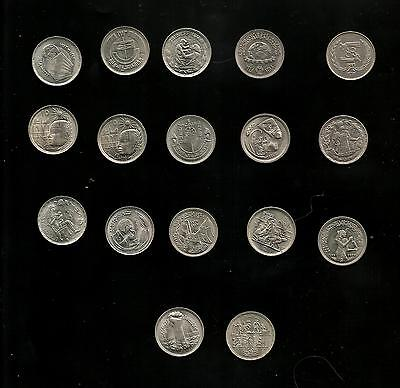 Egypt  COINS FULL SET COMMERATIVE 5 PIASTRES17 PCS 1969-1980UNC COPNICKLE ,