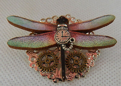 Pin Steampunk Altered Art Dragonfly Brooch Wood Handmade NEW Fashion Cosplay