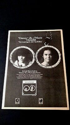 """Donny & Marie Osmond  """"leaving It Up To You"""" Rare Original Print Promo Poster Ad"""