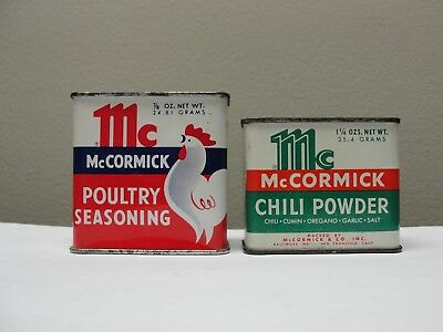 VINTAGE McCORMICK SPICE TINS, POULTRY AND CHILI, NICE GRAPHICS AND COLOR