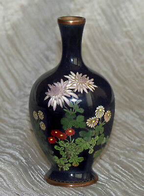 Japanese Cloisonne Enamel Vase with flowers - six sided from MEIJI PERIOD